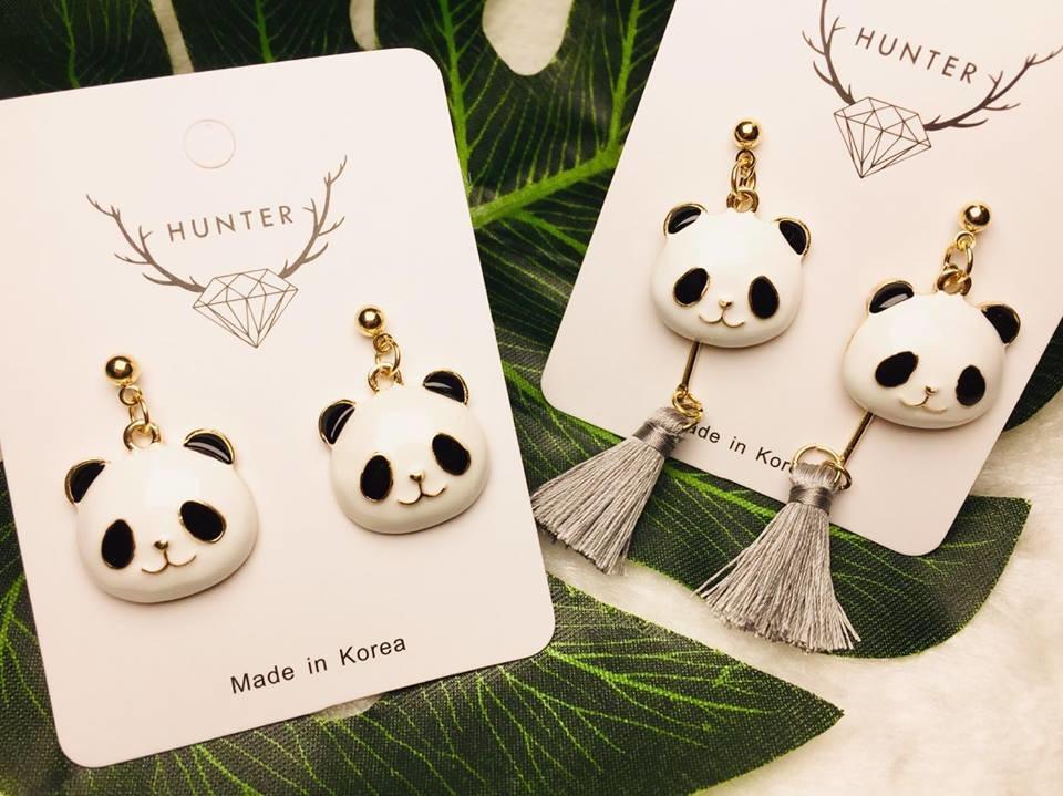 可愛胖達熊貓耳環 流蘇款 獵人家 動物昆蟲系飾品